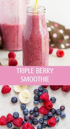 Healthy coconut milk triple berry smoothie with fresh or frozen fruits by I ilonaspassion Kiwi Smoothie, Frozen Berry Smoothie, Mixed Fruit Smoothie, Coconut Milk Smoothie, Berry Smoothie Recipe, Healthy Fruit Smoothies, Smoothies With Almond Milk, Fruit Smoothie Recipes, Strawberry Smoothie