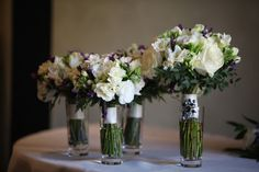 Lavender, rose, freesia, lisianthus and parvi bouquets