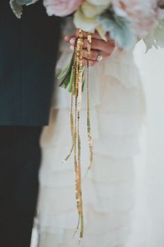 alternative to satin ribbon on the bouquet - sequined thin ribbon