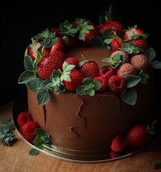 Chocolate Strawberry Desserts, Strawberry Cakes, Chocolate Cupcakes, Chocolate Cake With Strawberries, Strawberry Cake Decorations, Cake Cookies, Cupcake Cakes, Baking Cupcakes, Decors Pate A Sucre