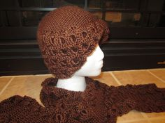 Unique Chocolate Brown Beanie Hat Crocodile Stitch With Matching Long Scarf by MonkeyCatBoutique on Etsy https://www.etsy.com/listing/170139714/unique-chocolate-brown-beanie-hat