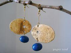 handmade paper earrings, faux golden leaf, bluestone