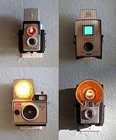 vintage cameras turned into Nightlights
