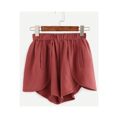 Brick Red Elastic Waist Wrap Shorts (100 RON) ❤ liked on Polyvore featuring shorts, patterned shorts, elastic waist shorts, summer shorts, stretchy shorts and loose shorts