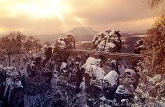 Basteibrücke Winter, Nationalpark Sächsische Schweiz, Sachsen