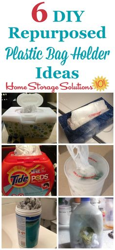 6 DIY repurposed plastic bag holder ideas you can use to organize and store your plastic shopping bags in your kitchen, bathroom, car, or elsewhere in your home using containers you most likely already have {on Home Storage Solutions 101} #Repurposed #OrganizingTips #Organizing