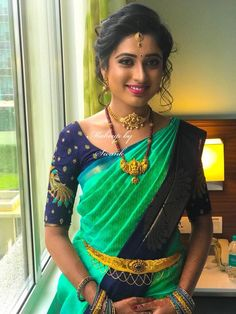 Simple yet elegant, our would-be bride Keerthana paints a pretty picture for her engagement ceremony. Hair and makeup by Team Swank. Wedding Saree Blouse Designs, Silk Saree Blouse Designs, Bridal Silk Saree, Silk Sarees, Simple Blouse Designs, Blouse Models, Saree Dress, Indian Designer Wear, Jaipur