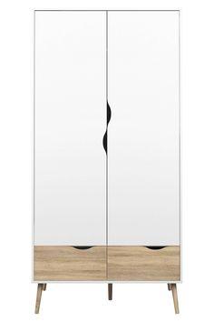 2 deurs kledingkast Delta, Wit eiken