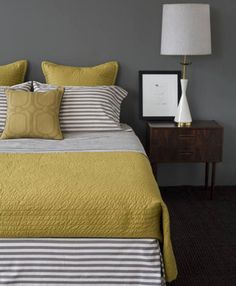 Yellow and grey bedroom ideas. Yellow and grey bedroom ideas. Blue yellow and grey bedroom ideas. Mustard yellow and grey bedroom ideas. Yellow and grey master bedroom ideas. Yellow and grey bedroom decorating ideas. Yellow Gray Bedroom, Grey Yellow, Bedroom Colors, Yellow Accents, Mustard Yellow, Grey Bedrooms, Dark Grey, Golden Yellow, Mustard And Grey Bedroom