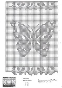 Схемы вязания занавесок крючком с бабочками Multiple butterfly charts.