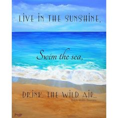 Printable Quotes, Beach art, Ocean art print, Live in the Sunshine,... ❤ liked on Polyvore featuring home, home decor, wall art, typography wall art, calligraphy wall art, word wall art, calligraphy painting and beach home accessories