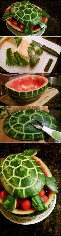 10 Watermelon Carving Ideas and Tutorials - Page 2 of 5 - - Watermelon is refreshing and delicious to eat. Here are 10 Watermelon Carving Ideas and Tutorials that you can use for your next party. Watermelon Turtle, Watermelon Art, Watermelon Carving, Cute Food, Good Food, Yummy Food, Fruits Decoration, Fruit Creations, Vegetable Carving