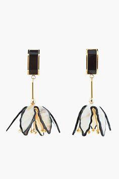 Marni Old Gold And Horn Flower Earrings for women   SSENSE