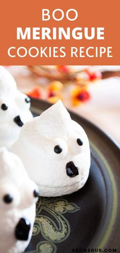 BOO meringue cookies are shaped like ghosts to make a fun treat this Halloween! Celebrate the day with these spooktacular treats sure to delight kids and adults alike. If you are into Halloween treats then this is the perfect dessert for you! They will for sure have your entire family running to the kitchen! #halloween #ad #HalloweenTreatsWeek Best Dessert Recipes, Amazing Recipes, Fun Desserts, Delicious Recipes, New Recipes, Cookie Recipes, Yummy Food, Favorite Recipes, Spooky Treats