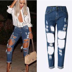 1cfda58bf7161 Cheap 2016 nueva moda los pantalones vaqueros rasgados mujeres de talle  alto flojo ocasional pantalones vaqueros