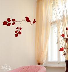 Liking the cream, white, and splash of red for a bath color scheme! Sweet Bird on a Branch Vinyl Wall Decal by LeenTheGraphicsQueen, $18.00