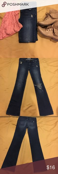 Dark boot cut jeans Gently used boot cut distressed denim . They do have stretch to them . Inseam is 30 Bullhead Jeans Boot Cut