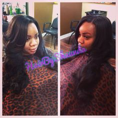 """Hair by shaunda , sew in extensions using 4 bundles of 18/22/22/24"""" Brazilian body wave satin tresses hair. Www.styleseat.com/hairbyshaunda to schedule your appointment sew in"""