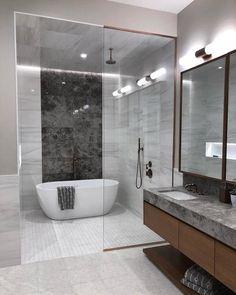 Volume Control Valve Trim with Metal Lever Handle Bathroom Tub Shower, Tub Shower Combo, Small Bathroom, Bad Inspiration, Bathroom Inspiration, Bathroom Design Luxury, Modern Luxury Bathroom, Modern Master Bathroom, Bathroom Layout
