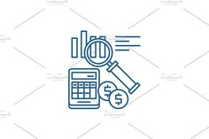 Vector Website, Report Design, Line Icon, Accounting, Concept, Creative, Illustration, Illustrations