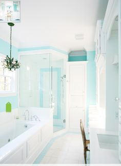 Dip a Toe Into Bold Color: Painted Ceilings in the Bathroom ... Design House Bathroom Access E A on
