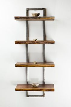 Reclaimed Black Walnut Wood Wall Shelf Trees live on with this hand crafted wooden shelf. Functional art at its finest, as artisan furniture maker, Scott. Walnut Shelves, Wooden Wall Shelves, Wall Shelves Design, Wooden Walls, Shelf Wall, Glass Shelves, Wooden Shelf Design, Wood And Metal Shelves, Book Shelves