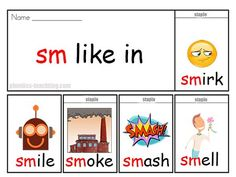 sm words - FREE & Printable - Phonics Flip Book - sm sound - Ideal for Home Reading Practice #phonics #iteachtoo