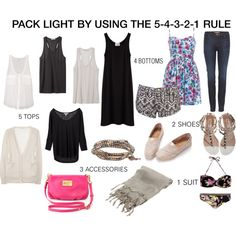 Pack Light using the rule: 5 tops, 4 bottoms, 3 accessories, 2 shoes and 1 suit Vacation Packing, Packing List For Travel, Packing Tips, Weekend Packing List, Packing Checklist, Camping Packing, Cruise Vacation, Disney Cruise, Vacation Destinations