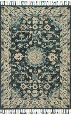 LOLOI RUGS TEAL BLUE / GRAY ZHARAH ZR-02: HOOKED 100% WOOL