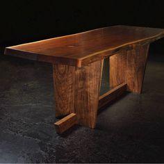 "Another photo of our ADOOPO 8261 Walnut dining table / desk . L 92"" x W 31"" x H 29.5"" L 234cm x W 79cm x H 75cm . . #wooblk #wooblkcanada #table #officetable #diningtable #furniture #woodfurniture #woodtable #liveedge #liveedgetable #naturaledge #liveedgeslab #toronto #handmade #desk #walnut #blackwalnut #madeincanada #woodwork #wood #woodslab #living #home #interior #interiordesign #design"