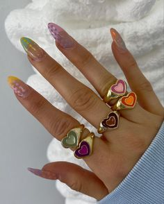 Nail Jewelry, Cute Jewelry, Jewlery, Nails Kylie Jenner, Nail Ring, Ring Ring, Accesorios Casual, Funky Nails, Fire Nails