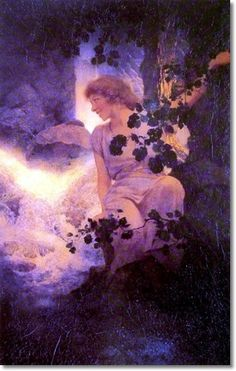 "Maxfield Parrish                                           ""Deep Woods, Moonlight."""