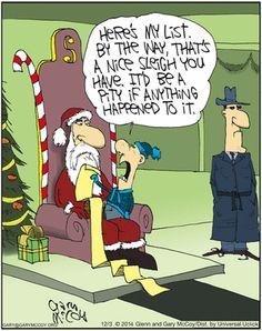 Random Christmas pic A mafia kid tells Santa he has a nice sleigh and would be a shame if something happened to it. Christmas Comics, Christmas Jokes, Christmas Cartoons, Funny Christmas Cards, Christmas Fun, Xmas Jokes, Christmas Images, Funny Cartoons, Funny Comics