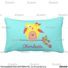 Personalized Cute Owl Yellow Pink Flowers Lumbar Pillow #S6GTP