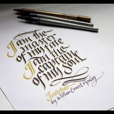 Invictus, with italic. #dailycalligraphy #italic #typography by Jackson Alves…
