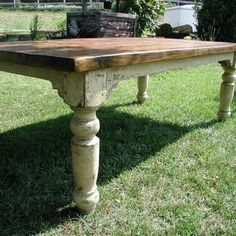 """The Cottage Farm Table is a beautiful hand-crafted table constructed from yellow pine with each leg individually hand-turned and attached to the apron using large """"mortise and tenon"""" joints, with each joint secured by square oak pegs making them almost in Dining Room Table, Table And Chairs, Farm Tables, Side Chairs, Country Dining Tables, Club Chairs, Coffee Tables, Farmhouse Table, Farmhouse Decor"""