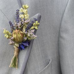 Provence Dried Flower Buttonholes Set of 4 от EnglishFlowerFarmer