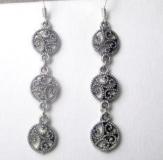 Round Silver filigree triple dangle earrings classy by beadwizzard