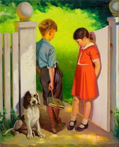 "Puppy Love - An Early Romance.... the impatient looking puppy, wants to know.... "" is he going to kiss her ? or what ? "" obrigado, Tanize !"