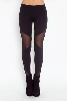 Workout Leggings With Mesh Panels