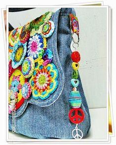 Repurposed Denim bag with crochet details, ribbons, beads - such a fun bag! Denim Tote Bags, Denim Purse, Freeform Crochet, Knit Crochet, Blue Jean Purses, Crochet Purses, Crochet Bags, Fabric Bags, Handmade Bags