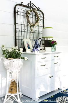 Summer Porch Decor | Vintage Garden Gate | On Sutton Place