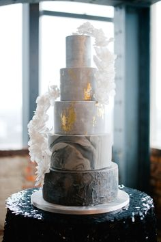 5 Tier Wedding Cake by Olofson Design | Botanical & Industrial Wedding Inspiration Shoot | Luxury London Wedding Venue Sky Loft | Flowers By Joanne Truby | Images From Anushe Low | Styling And Planning By Always Andri | http://www.rockmywedding.co.uk/glam-industrial-meets-botanical/