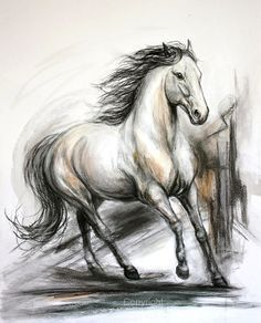 Charcoal Drawing Tips Original Horse Drawing in charcoal Of 'Unbridled by FerraroFineArt - Horse Drawings, Cool Art Drawings, Pencil Art Drawings, Art Drawings Sketches, Animal Drawings, Horse Sketch, Animal Sketches, Equine Art, Watercolor Animals