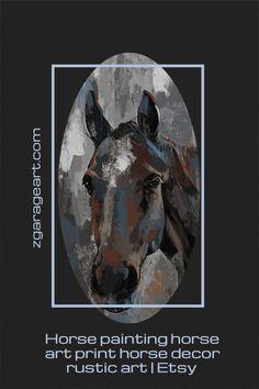 Horse painting, Rustic Horse painting, Horse in a Barn Rustic decor, Girls room art, gift for horseback riding, horses art print, large art Modern Art Prints, Wall Art Prints, Canvas Prints, Rustic Art, Rustic Decor, Riding Horses, Garage Art, Foil Art, Horse Drawings
