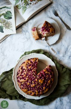 Fluffy red currant cake. Made with spelt flour and sweetened with maple syrup instead of sugar
