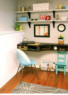 pops of color, DIY floating desk