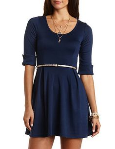 Pleated Skater Dress with Belt: Charlotte Russe