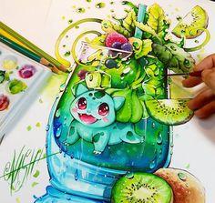 Green Spirit Bulbasaur - Manga Comics Illustrations by Nashi Pokemon Red Blue, Beautiful Drawings, Cool Drawings, Geeks, Manga Art, Anime Art, Dibujos Zentangle Art, Cute Pokemon Wallpaper, Kawaii Chibi