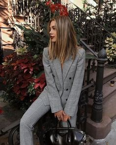 matching plaid suit blazer and pants